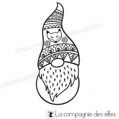 carte noel et nouvel an. Tampon-gnome