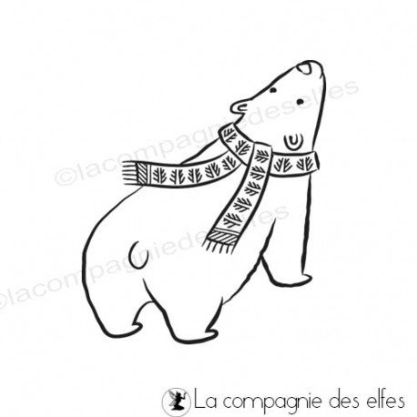 carte noel et nouvel an. Tampon-ours-polaire