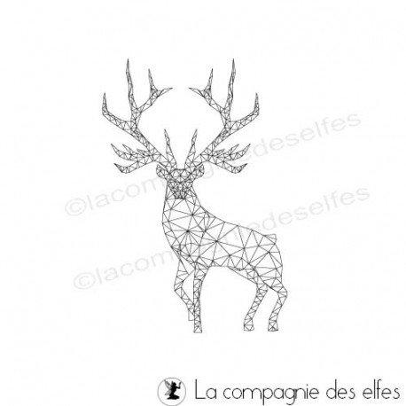 Tampon origami   tampon cerf   deer rubber stamp