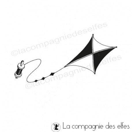 Tampon cerf volant   drachen stempel   kite rubber stamp