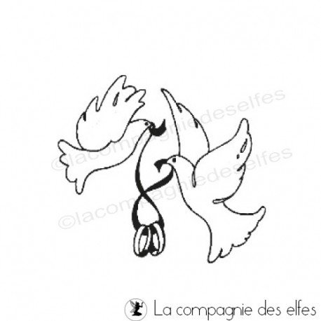 Tampon colombe mariage | achat timbre alliance