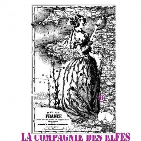 dame de France tampon bois mixed media