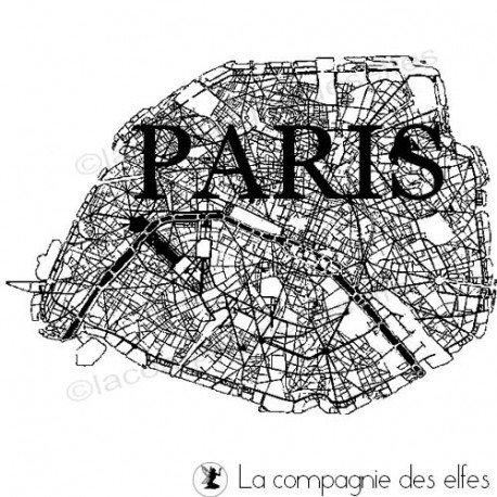 Carte routière tampon | Paris rubber stamp