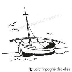 Tampon encreur la mer | tampon bateau | tampon scrapbooking vacances