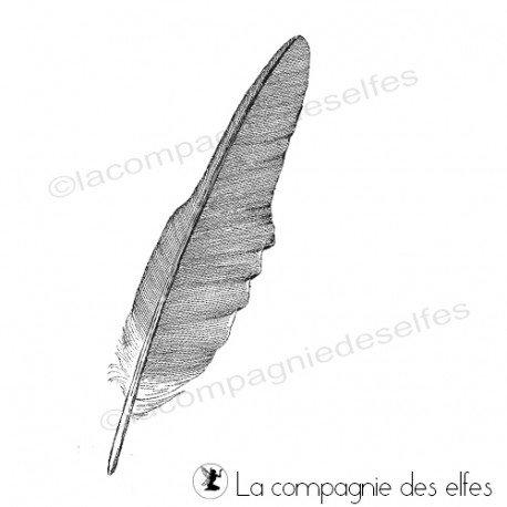 Tampon plume oiseau   cachet plume   timbre plume