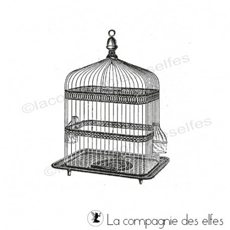 Timbre cage | bird cage rubber stamp