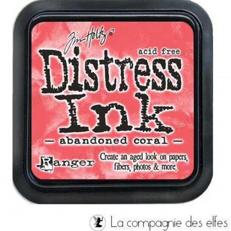 cartes 1/3  Distress-encre-coral
