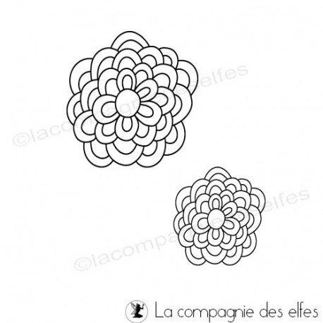 blume stempel |round flower rubber stamp