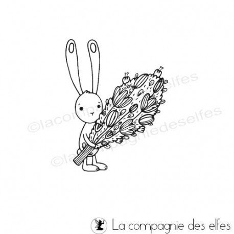 Challenge d'avril Tampon-lapin-bouquet