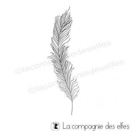 feather rubber stamp | feder stempel | tampon plume paon