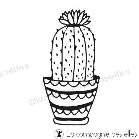Challenge d'Août exotique. Tampon-cactus-fleuri