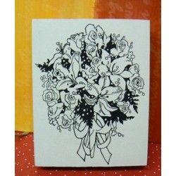 bouquet de fleurs -tampon bois-