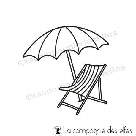 Sketch carte/page d'août de Béa Tampon-parasol-et-transat