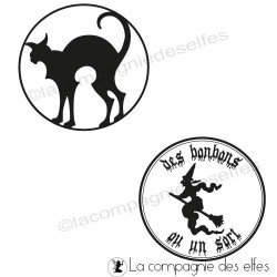 witch rubber stamp | cat stamp