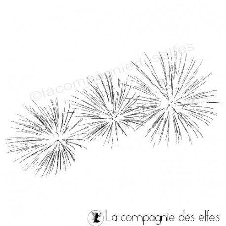 Sketch carte/page d'août de Béa Tampon-feu-d-artifice