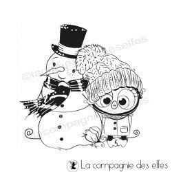 Tampon encreur bonhomme neige