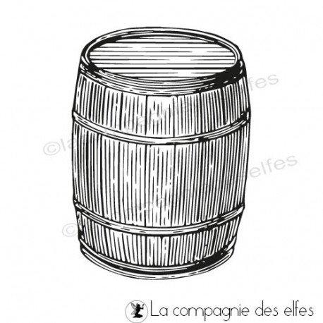 Carte automne vin et raisin 3/3 programmé 26/09 Tampon-encreur-tonneau