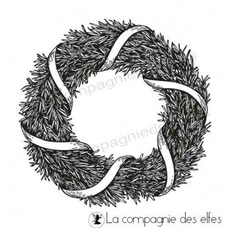 Challenge du 1er décembre sketch ATC. Tampon-couronne-de-noel