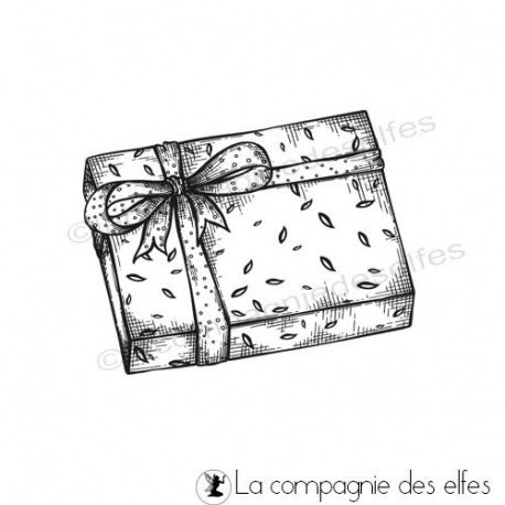 Tampon encreur paquet cadeau | tampon scrapbooking hiver
