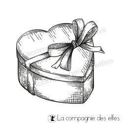 Tampon paquet cadeau coeur