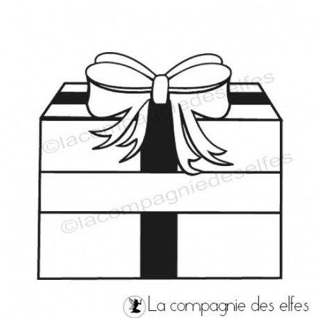 Tampon encreur paquet cadeau | tampon scrapbooking étiquette