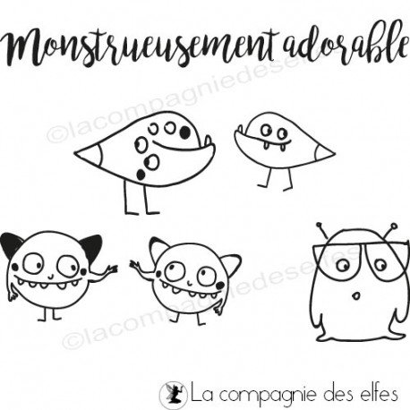 Achat tampon encreur monstre | monster rubberstamp