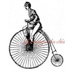 à vélo - tampon bois -