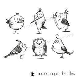tampons oiseaux petit modèle - non montés - fimo - scrap
