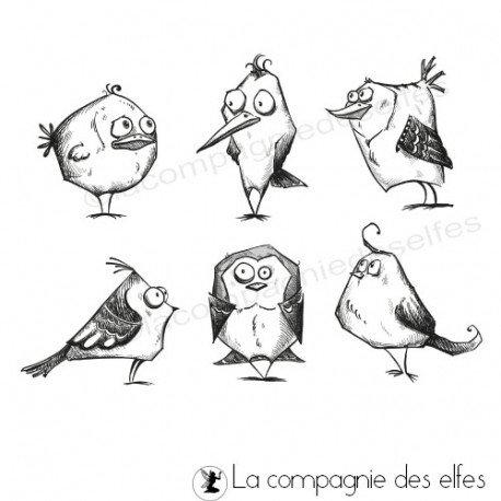 Tampon oiseaux fous | crazy bird stamp