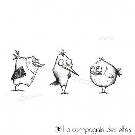 trio oiseaux rigolos pm - tampons non montés - ref A