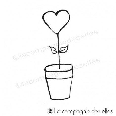 Tampon graine coeur | tampon pot fleur