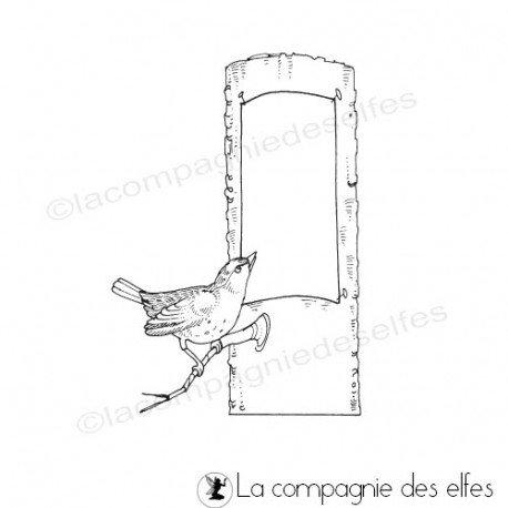 Tampon arbre oiseau | bird rubber stamp