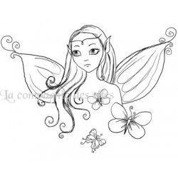 La fée et papillons - tampon bois