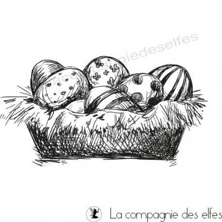 basket egg rubberstamp | achat tampon scrap panier