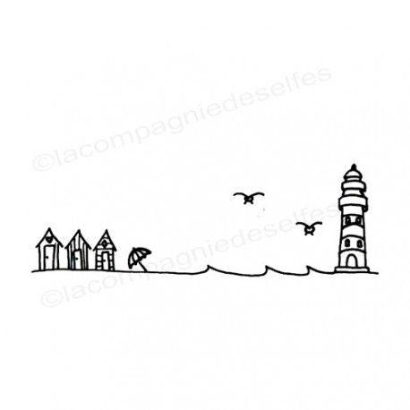 Tampon scrapbooking mer | tampon vacances | tampon phare mer | lighthouse stamp