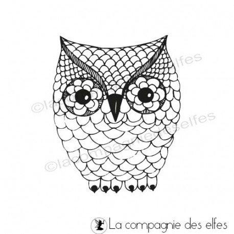 Tampon encreur chouette | owl rubberstamp