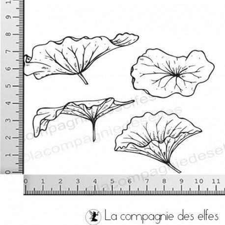 Challenge d'avril Tampons-feuilles-lotus