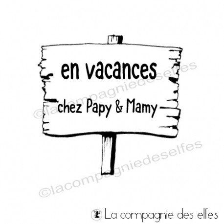Timbre papy mamy | tampon scrap vacances