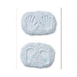 empreintes main pieds bébé bleu x 2
