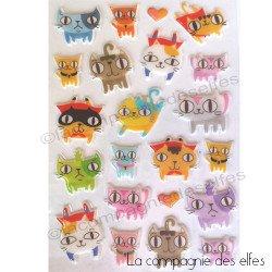 chats stickers mousse et petits coeurs