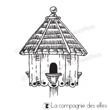 bird house rubberstamp | tampon scrapbooking nichoir