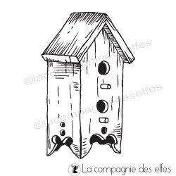 bird house rubberstamp | tampon scrapbooking mangeoire