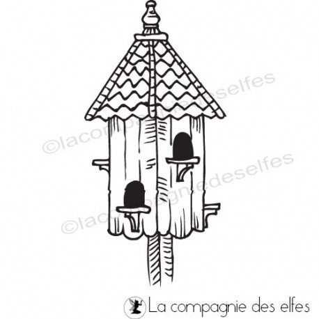 bird house rubberstamp | tampon scrapbooking nichoir oiseau