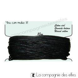 Coton ciré noir 1 mm