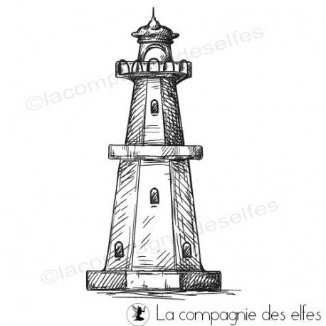 Timbre encreur phare | lighthouse rubberstamp | acheter tampon phare