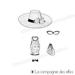 Tampon tenue vacances | timbre chapeau