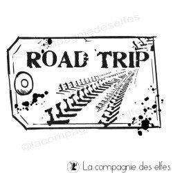 Timbre encreur étiquette | road trip rubberstamp | acheter tampon étiquette
