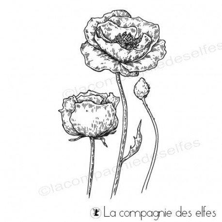 Carte vacances 1/3 Tampon-encreur-coquelicot-en-fleur