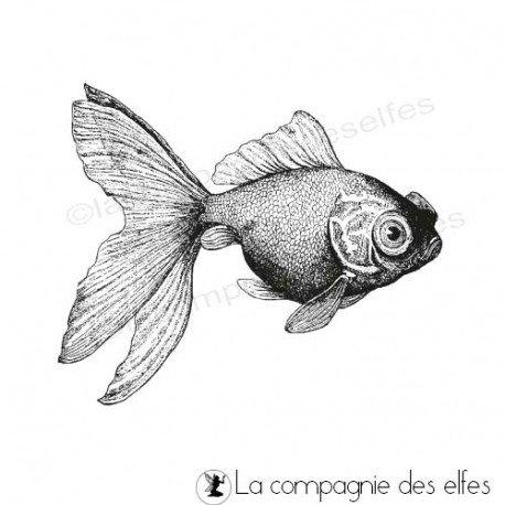 Timbre encreur poisson | achat timbre poisson rouge