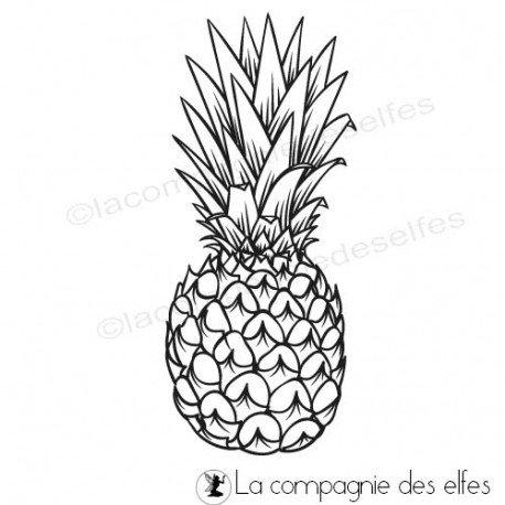 Sketch carte ou page XoXo. Tampon-encreur-ananas